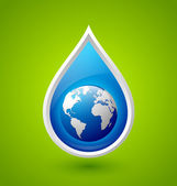 Water drop and planet Earth icon — Stock Vector