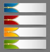 Zipper banners — Stock Vector