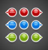 Sidnumrering knappar — Stockvektor