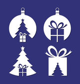 Negative space Christmas icons — ストックベクタ