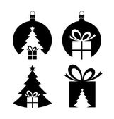 Negative space Christmas icons — Vecteur