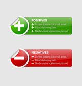 Positive und negative aufkleber — Stockvektor