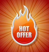 Glossy hot offer icon — Stock Vector