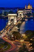 Chain Bridge & Blue Hour — Stock Photo