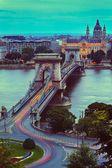 Chain Bridge & Lights — Stock Photo