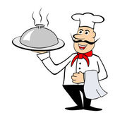 Chef holding a dish — Stock Photo