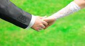 Sposi tenendosi per mano — Foto Stock