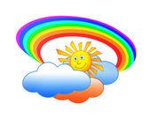 Sun clouds and rainbow — Stock Photo