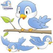 A Set of Cute Cartoon Birds — Stock Vector