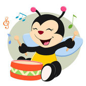Baby Bee Playing Drum — Stock Vector