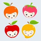 Cartoon Fruits — Stock Vector