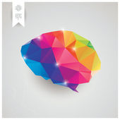 Abstract geometric human brain, triangles, creativity, vector illustration — Stock Vector