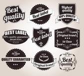 Collezione di etichette retrò vintage, distintivi, timbri, nastri, segni ed elementi di design tipografico, illustrazione vettoriale — Vettoriale Stock