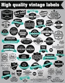 Collection of vintage retro labels, badges, stamps, ribbons, marks and typographic design elements, vector illustration — Stock Vector