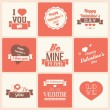 Collection of Valentine s day vintage labels, typographic design elements, ribbons, icons, stamps, badges, vector illustration — Stok Vektör
