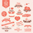 Collection of Valentine s day vintage labels, typographic design elements, ribbons, icons, stamps, badges, vector illustration — Stock vektor