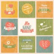 Collection of Valentine s day vintage labels, typographic design elements, ribbons, icons, stamps, badges, vector illustration — Stock Vector #40138329