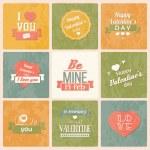 collection de jour de valentine vintage labels, des éléments de conception typographiques, des rubans, des icônes, des timbres, des badges, illustration vectorielle — Vecteur