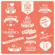 Collection of Valentine s day vintage labels, typographic design elements, ribbons, icons, stamps, badges, vector illustration — Stock Vector #40138767