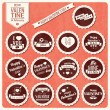 Collection of Valentine s day vintage labels, typographic design elements, ribbons, icons, stamps, badges, vector illustration — Stock Vector #40138937