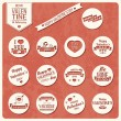 Collection of Valentine s day vintage labels, typographic design elements, ribbons, icons, stamps, badges, vector illustration — Stock Vector #40139101