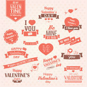Collection of Valentine s day vintage labels, typographic design elements, ribbons, icons, stamps, badges, vector illustration — Stock Vector
