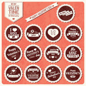 Collection of Valentine s day vintage labels, typographic design elements, ribbons, icons, stamps, badges, vector illustration — Vector de stock
