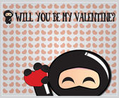 Cute ninja characters, Valentine's day, vector illustration — Stock vektor