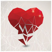 Valentine s day card, geometric triangle pattern, broken heart, label design, typography, vector illustration — Stock Vector