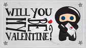Ninja simpatici personaggi, Valentino, illustrazione vettoriale — Vettoriale Stock