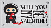 Cute ninja characters, Valentine's day, vector illustration — ストックベクタ