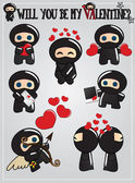 Cute ninja characters, Valentine's day, vector illustration — Vecteur