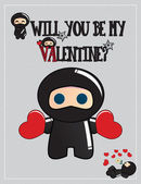 Cute ninja characters, Valentine's day, vector illustration — Cтоковый вектор
