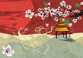Traditional Japanese background with cherry blossom, vector — Stock Vector