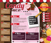 Website template elements, vintage style, candy shop — Stock Vector