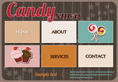 Website template elements, vintage style, candy shop — Stock vektor