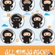 Collection of cartoon ninjas with different faces — Stock Vector