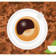 Coffee background with coffee cup and coffee beans, vector — Stock Vector #40183651