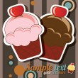 Happy birthday cup cake card, vintage retro, vector — Stock Vector