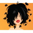 Stock Vector: Young womwith black hair, leaves and butterflies coming out of her hair, on orange background