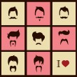 I love vintage hipster hair styles and mustaches, vector illustration — Stock Vector #40184195