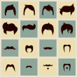 I love vintage hipster hair styles and mustaches, vector illustration — Stock Vector #40184199