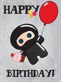 Happy birthday card with cute cartoon ninja character, vector — Stock Vector
