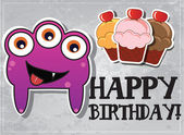 Happy birthday card with cute cartoon monster, cupcake and heart, vector — Stock Vector