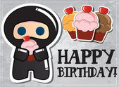 Happy birthday card with cute cartoon ninja character, vector — Stock Vector