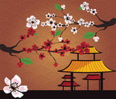 Traditional Japanese landscape with cherry blossom, vector — Stock Vector