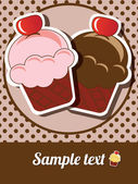 Happy birthday cup cake card, vintage retro, vector — 图库矢量图片