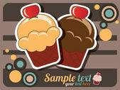 Cartolina di buon compleanno torta della tazza, vintage retrò, vettoriale — Vettoriale Stock