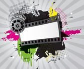 Movie background with film strip, vector — Stock Vector