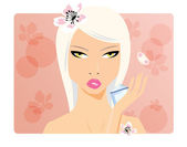 Beautiful girl, beauty cosmetics, vector — Stock Vector